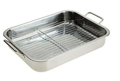 Stainless Steel Roasting Pan - 16' Lasagna Roaster Pan With Rack-Casserole dish-Roasting pan-Lasagna pan-Baking tray-Dish pan-Casserole dish set-Baking dishes-Lasagna tray-Pan lasagna