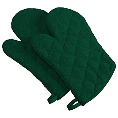 DII Cotton Terry Oven Mitts, 7 x 13   Set of 2, Heat Resistant and Machine Washable Kitchen Gloves for Cooking and Baking-Teal