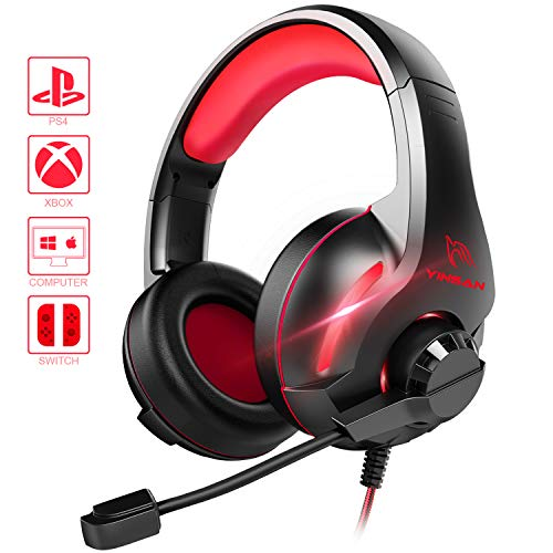 YINSAN Xbox One Headset, PS4 Headset Surround-Stereo Gaming Kopfhörer mit Mikrofon LED Licht, Over Ear Soft Memory Ohrenschützer, kompatibel mit PC /PS4 /Xbox One/Switch (Rot)