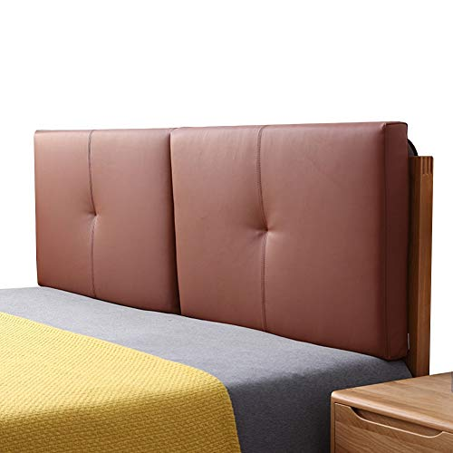 JFya Headboard Bed Back Cushion Reading Backrest Pillow Lumbar Pads Soft and Comfortable Relieve Fatigue for Beds with Headboard, 4 Colors (Color : Brown-B, Size : 150CM)
