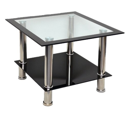 Glastisch Beistelltisch Ecktisch Couchtisch Schwarz mit Edelstahl und 8 mm ESG Sicherheitsglas