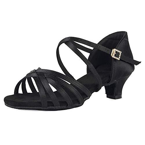 Zapatos de baile Zapatos de baile latino para niñas Zapatos de baile de satén de seda de tacón bajo Zapatos de baile de salsa de práctica de rendimiento, SS-TL-ZSXGG / 202 (Color: 1 57 Inch Black Xgg