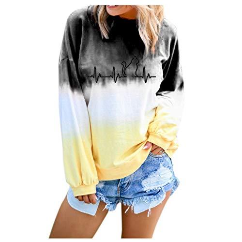 Alwayswin Frauen Farbverlauf Farbe Langarm Sweatshirt Gedruckt Beiläufige Pullover O-Ausschnitt Wild Langarmshirt Mode Langarm T-Shirt Top Sweatshirts Oberteil Bluse