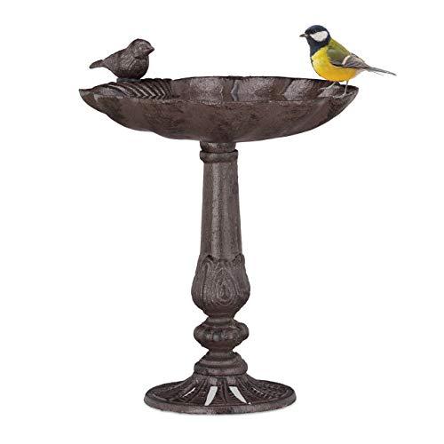 Relaxdays Gusseisen Vogeltränke, Säule, Gartendeko, stehend, Vogelfutterstelle, Muschel Wasserschale f. Wildvögel, braun