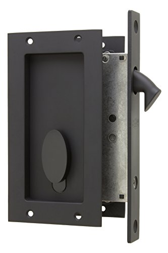Anacapa by FPL- Solid Brass Modern Pocket Door Mortise Lock Set with Single Keyed Euro Profile Cylinder - Oil Rubbed Bronze