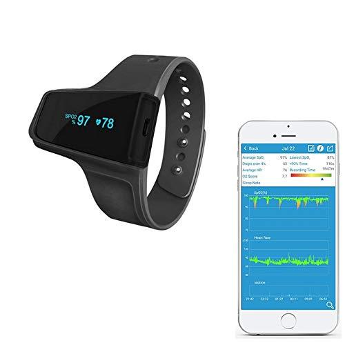 Trendmedic CheckmeO2 - kabelloser Handgelenk Pulsoximeter - komfortabler SpO2 - Schlafmonitor mit speziellen Fingersensor und Langzeitüberwachung (Aufnahmefunktion)
