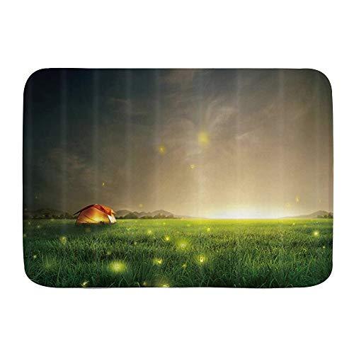 Kgblfd Microfiber Bath Mat Rug,Firefly Green Grassland Camping Outdoor Tents and Fireflies,Bathroom Rugs Carpet Non Slip,29.5' X 17.5'