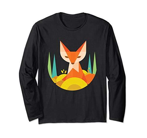 Fraktale geometrische Fox Animal Wildlife Graphic Langarmshirt