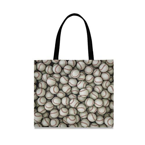 DOSHINE Tragetasche aus Segeltuch, Sportbälle, Baseball-Muster, wiederverwendbar, Einkaufstasche, Schulranzen, Handtasche für Damen, Mädchen