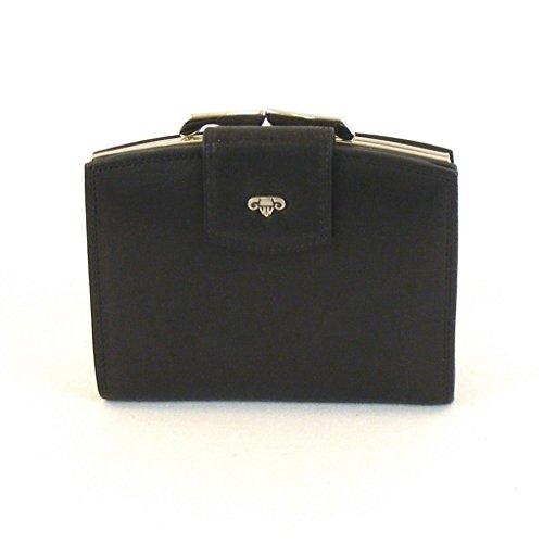 HGL Damen Geldbörse Bügelbörse Leder schwarz 10199 Kreditkartenfach Bildfach