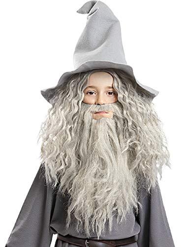 Funidelia | Peluca de Gandalf con Barba - El Seor de los Anillos Oficial para Hombre y Mujer El Seor de los Anillos, Pelculas & Series, El Hobbit, Magos - Multicolor, Accesorio para Disfraz