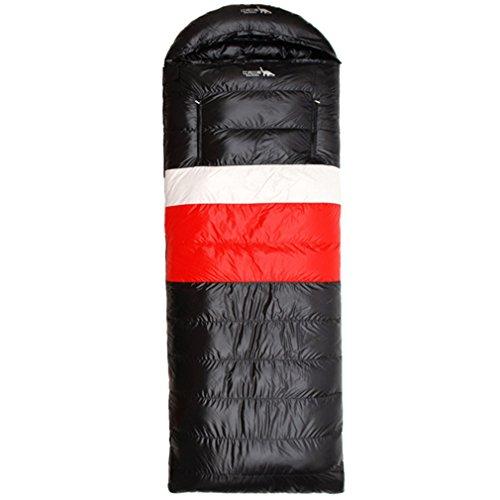 emansmoer Outdoor Imperméable Portable Léger Duvet de Canard Sacs de Couchage rectangulaires pour Camping Randonnée (Duvet de Canard(1000g), Noir-Rouge)