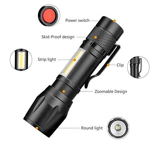 Lampe de poche à LED 4 modes lampe de travail zoomable lampe de travail lanterne portable stylo lampe clip utilisation de la lumière de poche