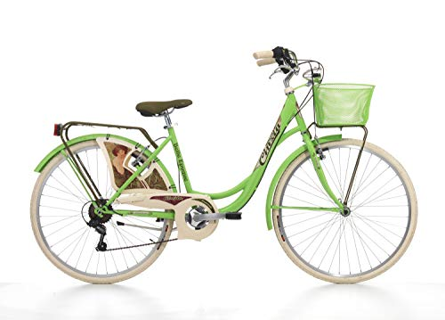 Cicli Cinzia Bicicletta 26' Citybike Belle Epoque Donna 6/V Revo Shift V-Brake Alluminio, Verde Mela