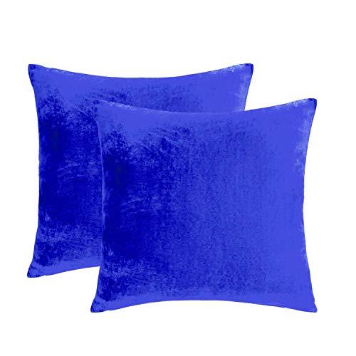 Essencea Samt-Kissenbezüge, 2 Stück, einfarbig, dekorativ, europäisch, weich, quadratisch, mit verstecktem Reißverschluss für Sofa, Schlafzimmer, Wohnzimmer, Auto (40,6 x 40,6 cm, Königsblau)