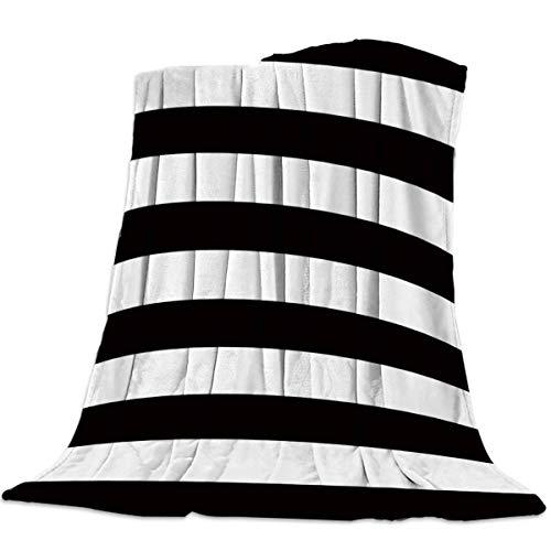 AEMAPE Manta Suave para sofá Cama, Simple Raya Blanca y Negra - Manta Ligera y cálida para Viajes de Camping, 50 'x 60'