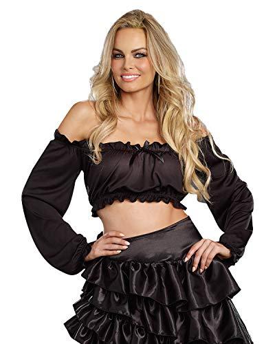 Dreamgirl Women's Ruffled Crop Top Renaissance Peasant Costume Accessory, Black, Medium/Large