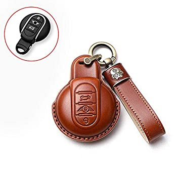 SANRILY Car Key Cover for BMW Mini Cooper 2016-2021 Clubman Countryman Hardtop Convertible Keyless Remote Key Holder Leather Key Protective Case with Lucky Cat Keychain Brown