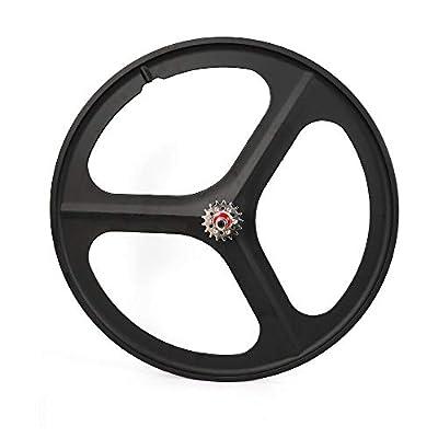 CNCEST 700c 17 Teeth 3-Spoke Fixed Gear Wheel Set Front Rear Single Speed Bicycle Wheel (Rear Wheel Black)