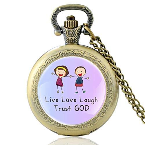 ZDANG Vintage Bibel Vers Live Love Laugh Trust God Quarz Taschenuhr Männer Frauen Anhänger Classic Chain Hours ClockEIN Geschenk für EIN Kind