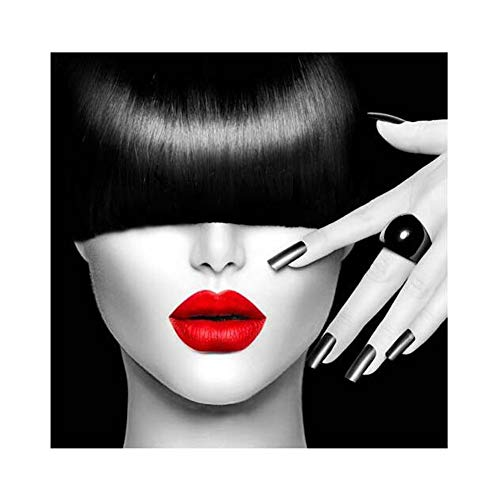 Pintura de Pared Artes Enmarcadas Impresión en Lona Decoración del Hogar Mujer de belleza labios rojos Decoración Bar Tienda de ropa creativa Peluquería Moderno Lámina Enmarcada Foto Enmarcada , 3 , 35*50cm