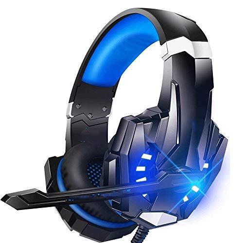 RHL Auriculares de juego para PS4 PC Xbox One Controlador Cancelación de ruido sobre la oreja Auriculares con micrófono Luz LED Bass Surround Soft Memory Orejeras para portátil (color A: A)