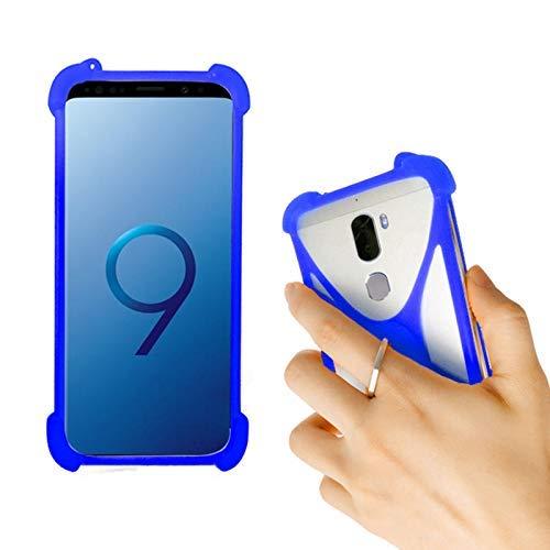 Lankashi Blau Silikon Schutz Tasche Hülle Hülle Ring Halter Ständ Cover Etui Handyhülle Handytasche Für NUU G3 G2 G1 X5 X4 X1 Nextbit Robin CTC Smartphone 3G Meiigoo Note 8 Mate 10 S8 S9 Universal