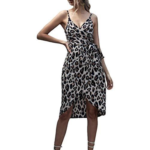 Luandge Vestido de Mujer con Cuello en V, con Cordones, Estampado de Leopardo, Vestido con Abertura, Moda de...