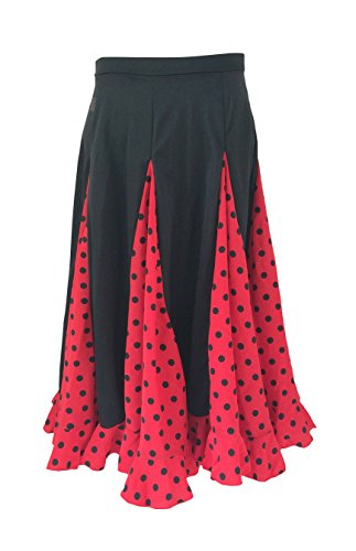 La Señorita Falda Flamenco Sévillane niña Rojo Rojo con Puntos Negro (Rojo Negro, Talla 10-7/8 año)