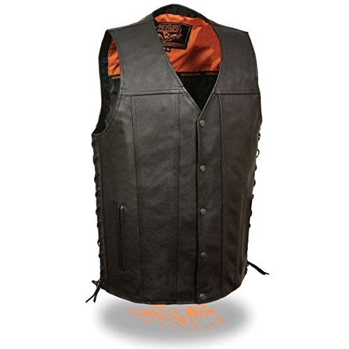 Milwaukee Leather MLM3520 Men's Black Straight Bottom Side Lace Leather Vest with Gun Pockets - 5X-Large