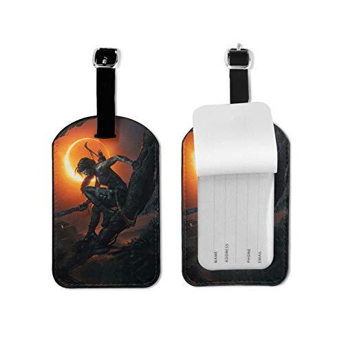 T-omb Raider - Etiquetas de equipaje para maleta, tarjetero, etiqueta, nombre de dirección, bolsa de identificación, microfibra, piel sintética, 2.7 x 4.3 pulgadas