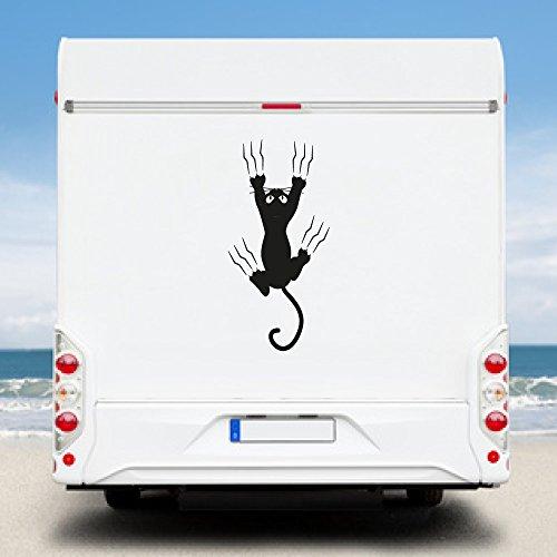 KINGZDESIGN® WA2160 - Wohnmobil Aufkleber - Wohnwagen Aufkleber - Katze