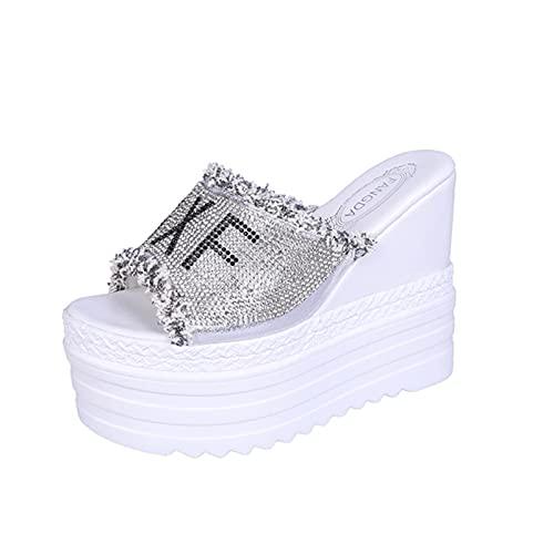 DZQQ 2020, lo más Nuevo, cuñas de Cristales de Moda, Tacones súper Altos, Sandalias de Verano para Ocio, Zapatos de Mujer, Zapatillas con Plataforma de Boca de pez