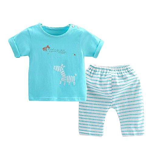 OHmais Bébé Fille garçon Unisexe Grenouillère Ensemble de Pyjama 2 Pieces Coton Bleu Size 110