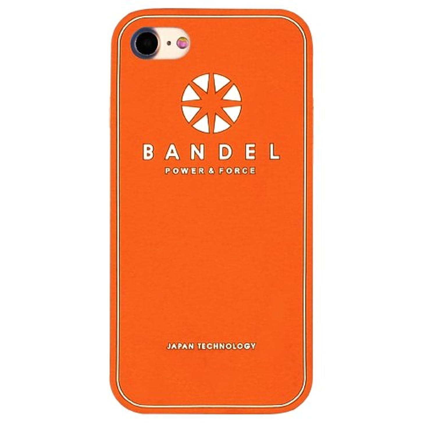 さらに測定可能永久にバンデル(BANDEL) ロゴ iPhone 8専用 シリコンケース [オレンジ×ホワイト]