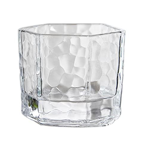 Juego de 6 copas de vino, vasos de cerveza geométricos transparentes de seis lados para copas de vino de cristal, para fiestas, cocina, bar