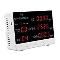 室内空気質センサー、空気質モニター、CO2 HCHO TVOC PM2.5 / 10多機能ガス検知器、ホームオフィス用の正確なテスターキット、リアルタイムデータ平均値