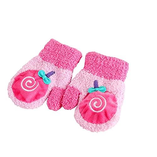 fregthf Guantes de los niños creativos Lollipop Suave Polar de Coral Precioso Manoplas niño de 1 par niños y niñas Rosa