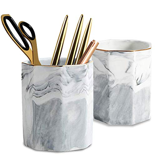 2 Pack Ceramic Pen Holder Stand,Cup for Desk Marble Pattern Makeup Brush Holder for Girls Women,Desk Accessories Holder,Durable Desktop Organizer Pencil Holder Pot Ideal Gift for Office Home (Gray)