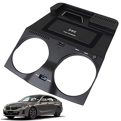 Panel de Accesorios de La Consola Central AutomóVil Cargador InaláMbrico, para BMW 5 Series G30 G31 6 Series GT 2018 2019 2020, Qi Smartcarga InduccióN RáPida Almohadilla para iPhone Samsung
