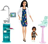 Barbie Dentist Doll and Playset, Brunette, with Small Patient Doll and Accessories