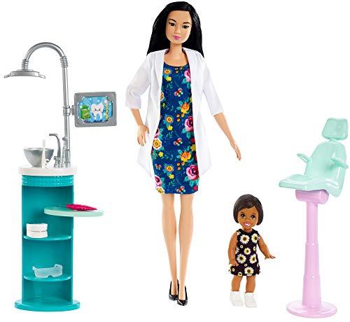 Barbie FXP17 - Berufe Zahnärztin Spielset, inkl. Puppe und Babypuppe mit braunen Haaren, Puppen Spielzeug ab 3 Jahren