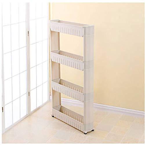 Lw Shelf Estantería móvil organizador con 4 cestas de almacenamiento grandes, estante de almacenamiento para despensa delgado para espacios estrechos (color: D1)