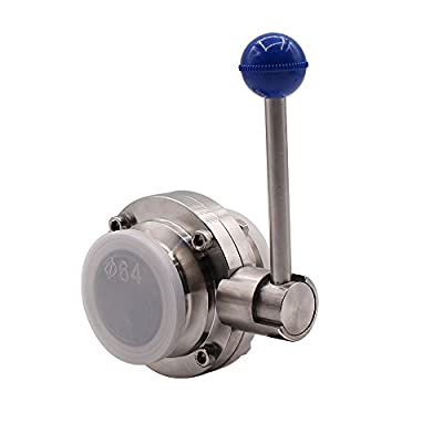 "DERNORD Sanitary Butterfly Valve with Pull Handle Stainless Steel 304 Tri Clamp Clover (2"" Tube OD) from DERNORD"