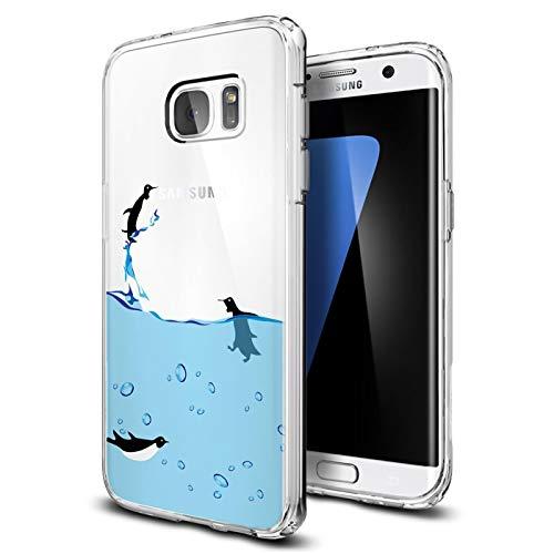Preisvergleich Produktbild Conie® Handyhülle Rück Schale für Samsung Galaxy S7 Edge,  Ultra Slim TPU Hülle aus Silikon mit Bilder Motiv,  Kanten Display Kamera Schutz,  Motiv Pinguin Design