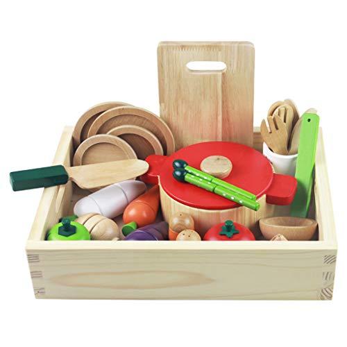 ASDG Giocattoli per Bambini della Scatola di Simulazione di Legno Frutta E Verdura Tagliare Cucina per Bambini Play House Giocattoli