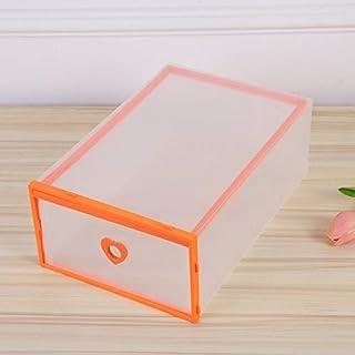 シンプルライフ、ライフアシスタント 透明なホームフリップカバー引き出しプラスチック肥厚ストレージボックス(ブラック)、靴ラック (色 : オレンジ)