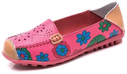 Mujer Mocasines de Cuero Moda Loafers Casual Zapatos de Conducción Zapatillas del Barco Cómodos Planos Sandalias para Caminar,C Rosa,40 EU