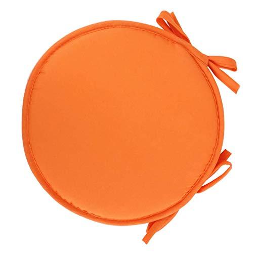 BANGSUN Cojín redondo de esponja para silla con lazos de cuerda, color naranja