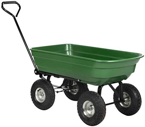 Kinzo Gartenkarre - Gartenwagen mit Kippfunktion - Bollerwagen - Handwagen 75 Liter - 200 kg Ladekapazität